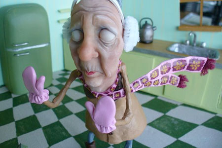 working on the sculpted granny